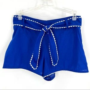 French Connection Tie Belt Shorts Blue Size XS